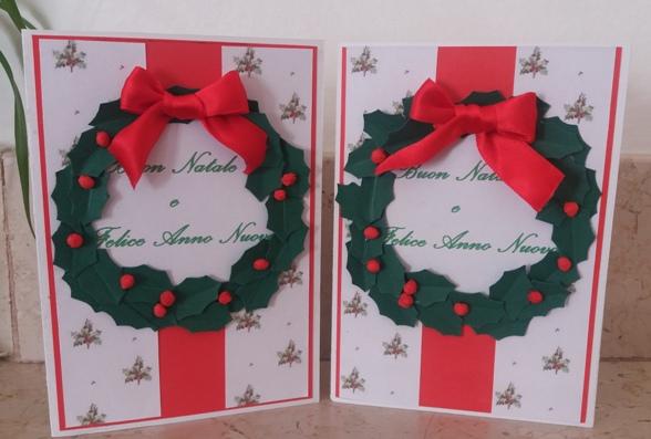 biglietto di auguri natalizio con ghirlanda
