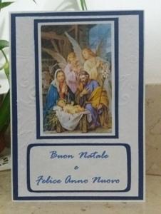 biglietto di auguri con la Sacra Famiglia,