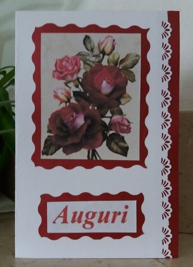 Biglietto di auguri con bouquet di rose