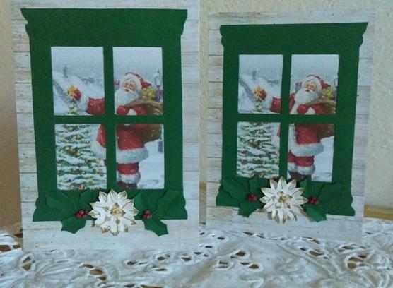 biglietti natalizi con finestra decorata