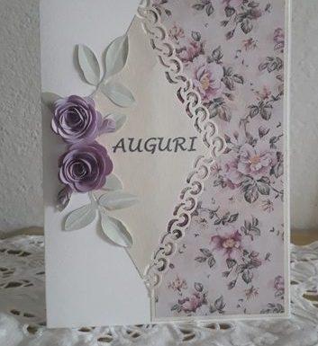 CARD D'AUGURI CON ROSE IN 3D FAI DA TE