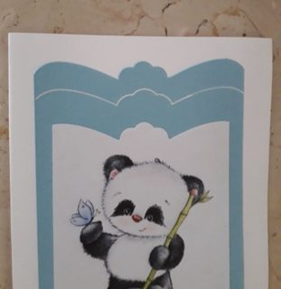 biglietto d'auguri Panda con fiore in 3D