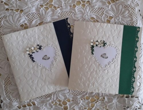 CARD D'AUGURI MATRIMONIO CUORI INTAGLIATI