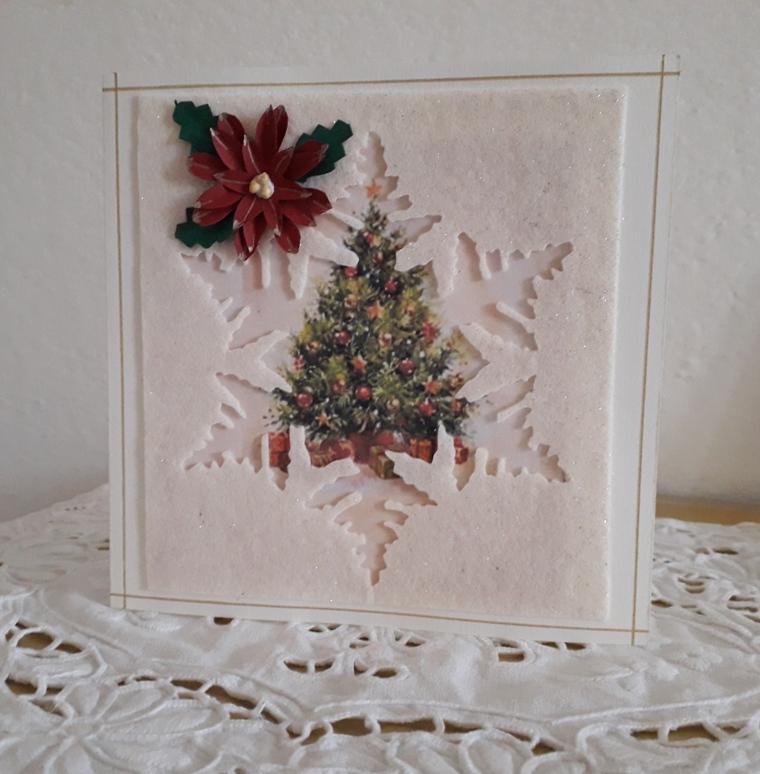 biglietti natalizi fiocco di neve e stella